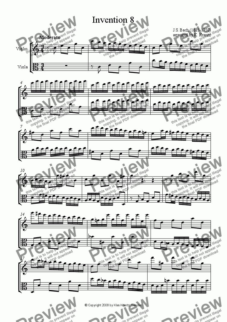 page one of Invention 8 for violin and viola