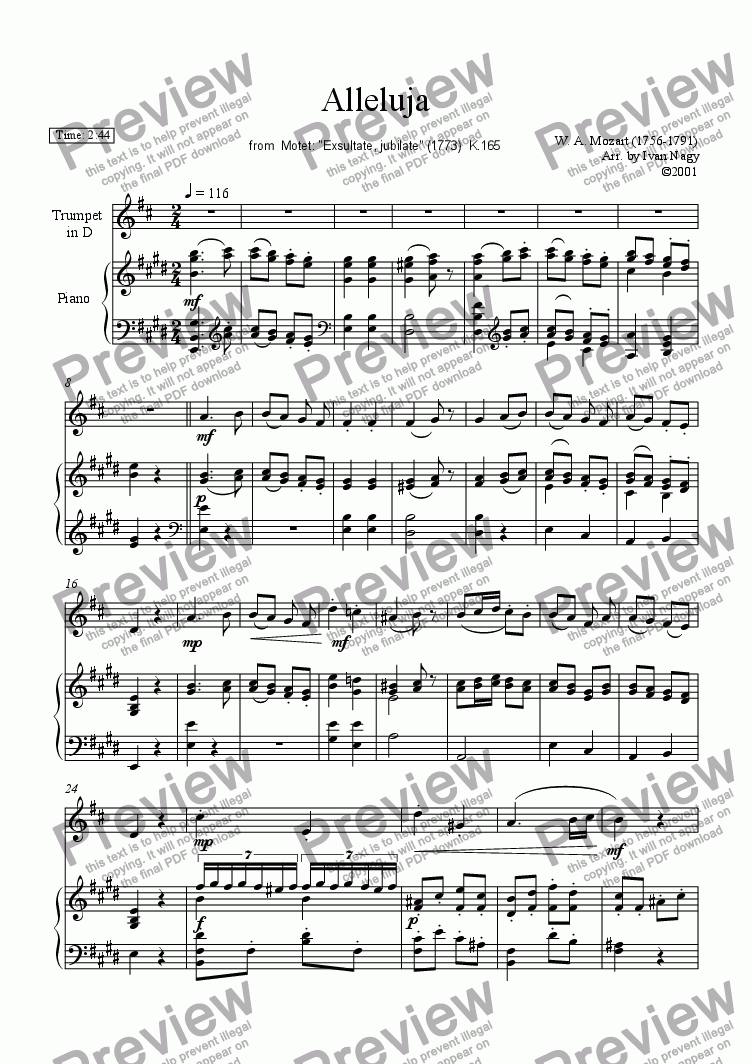 "page one of ALLELUJA, for Trumpet and Piano, from Motet: ""Exsultate, jubilate"""