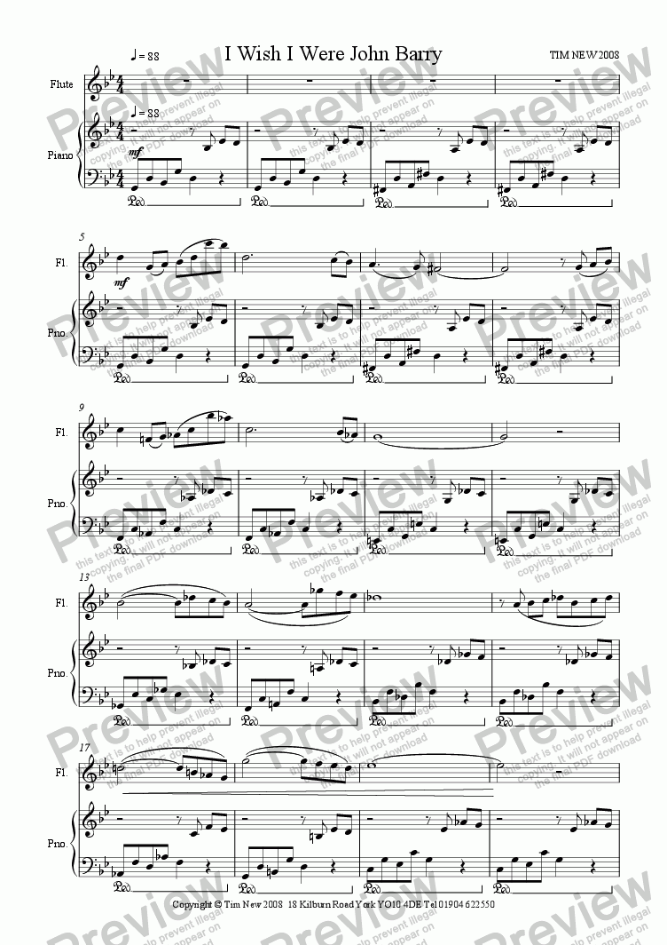 page one of I Wish I Were John Barry for alto sax and pianoASALTTEXT