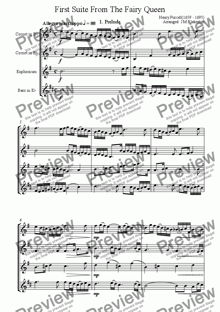 page one of 1st Suite from The Fairy Queen (Brass Quartette)