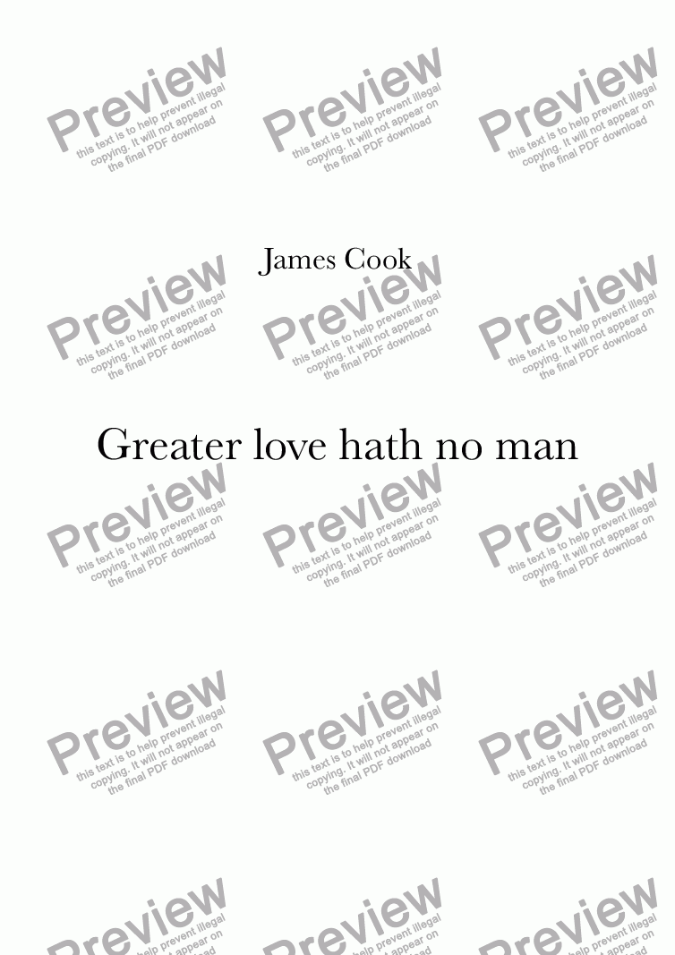 page one of Greater love hath no man