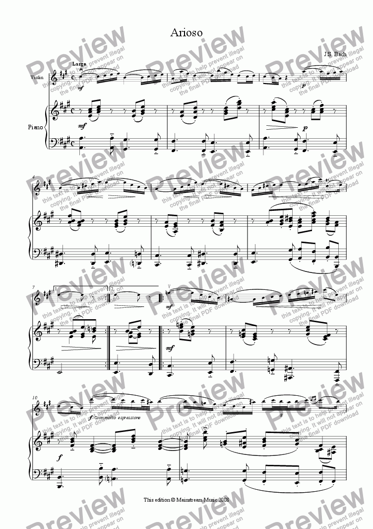 page one of Arioso
