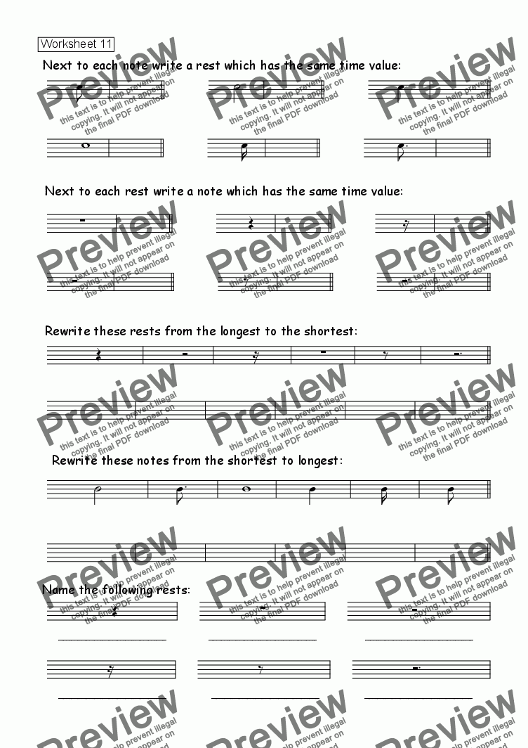 Worksheet 11: Drawing Rests for Worksheets by Kevin Fairless - Sheet Music  PDF file to download