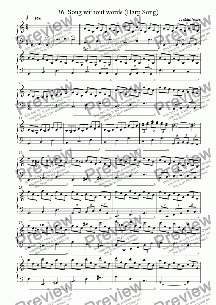 page one of Piano Book 036 (Song without Words  Harp Song)