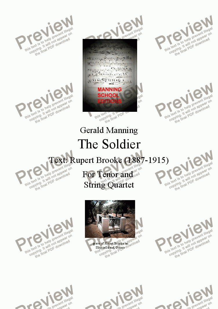 page one of English Song: Manning, Gerald - The Soldier,Op.24 - for Tenor & String QuartetASALTTEXT