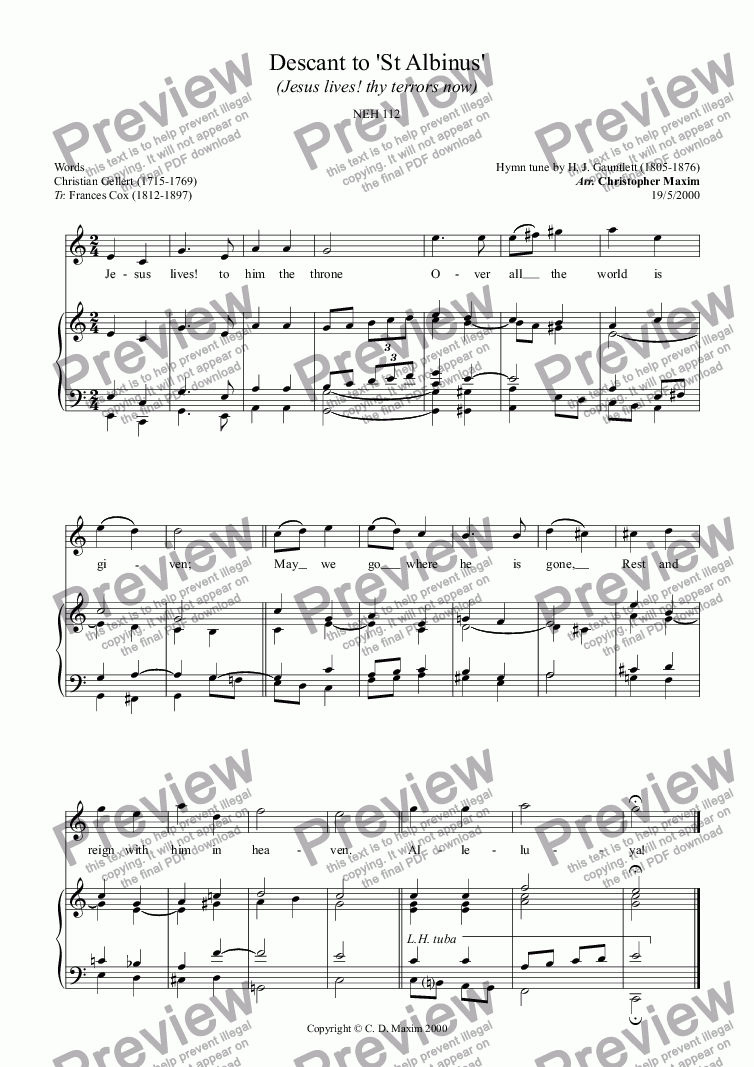 page one of Descant to 'St Albinus' (Jesus lives! thy terrors now) (C major)