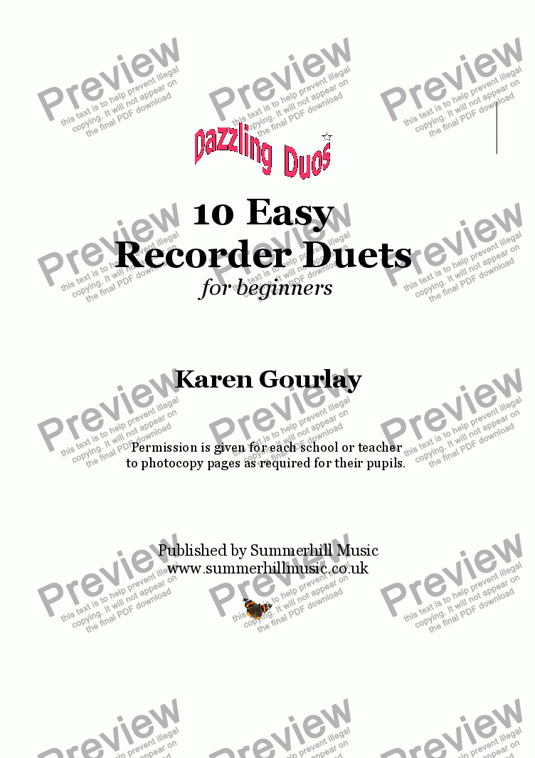 page one of Dazzling Duos: 10 Easy Recorder Duets