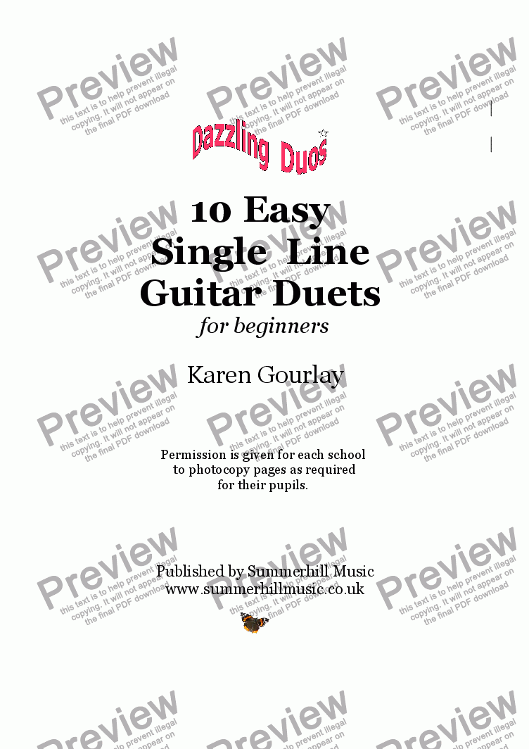 page one of Dazzling Duos: 10 Easy Single Line Guitar Duets