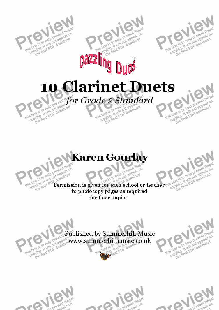 page one of Dazzling Duos: 10 Clarinet Duets for Grade 2 Standard