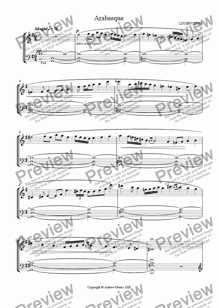 page one of Arabesque for organ