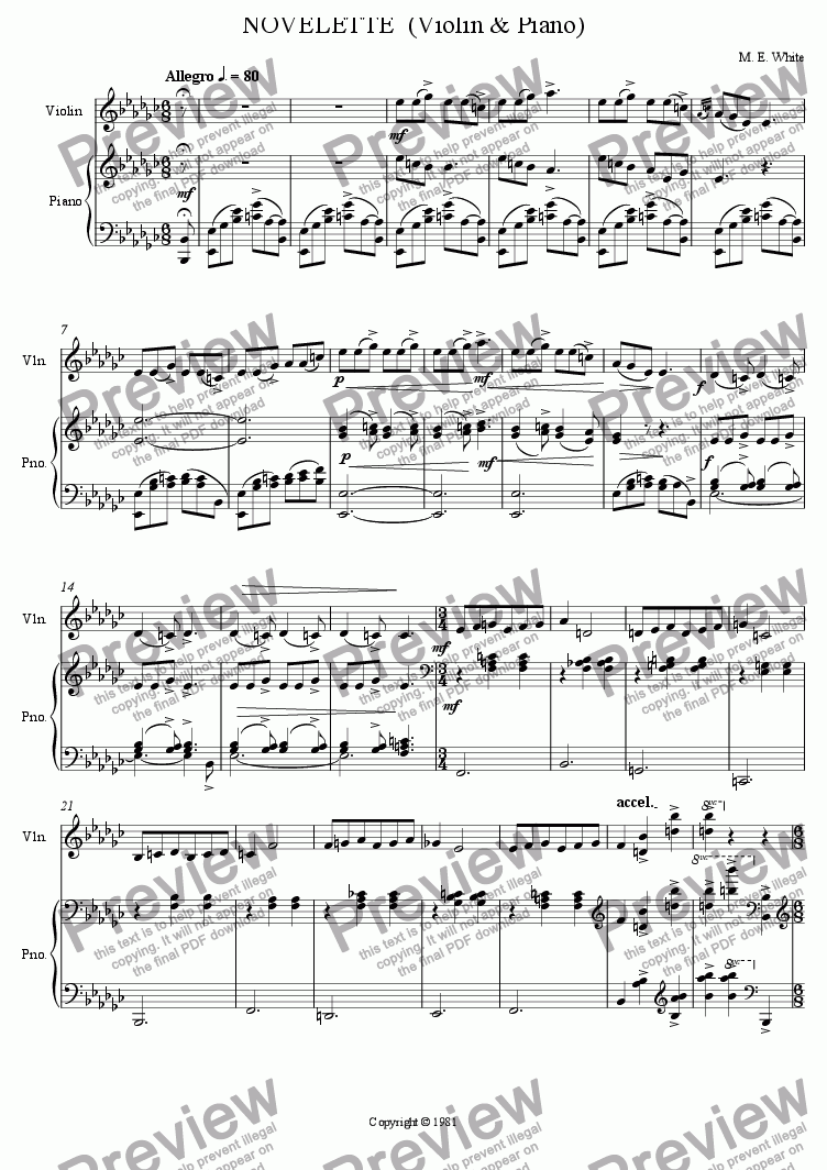 page one of NOVELETTE  (Violin & Piano)