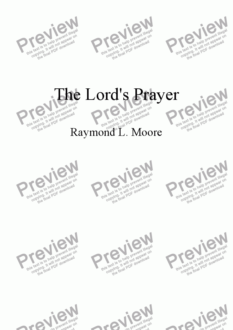 page one of The Lord's Prayer (worship)