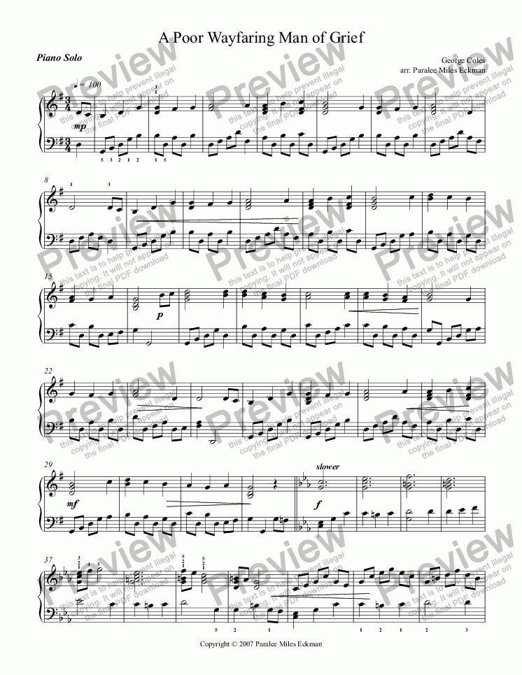 page one of A Poor Wayfaring Man of Grief (Piano Solo)