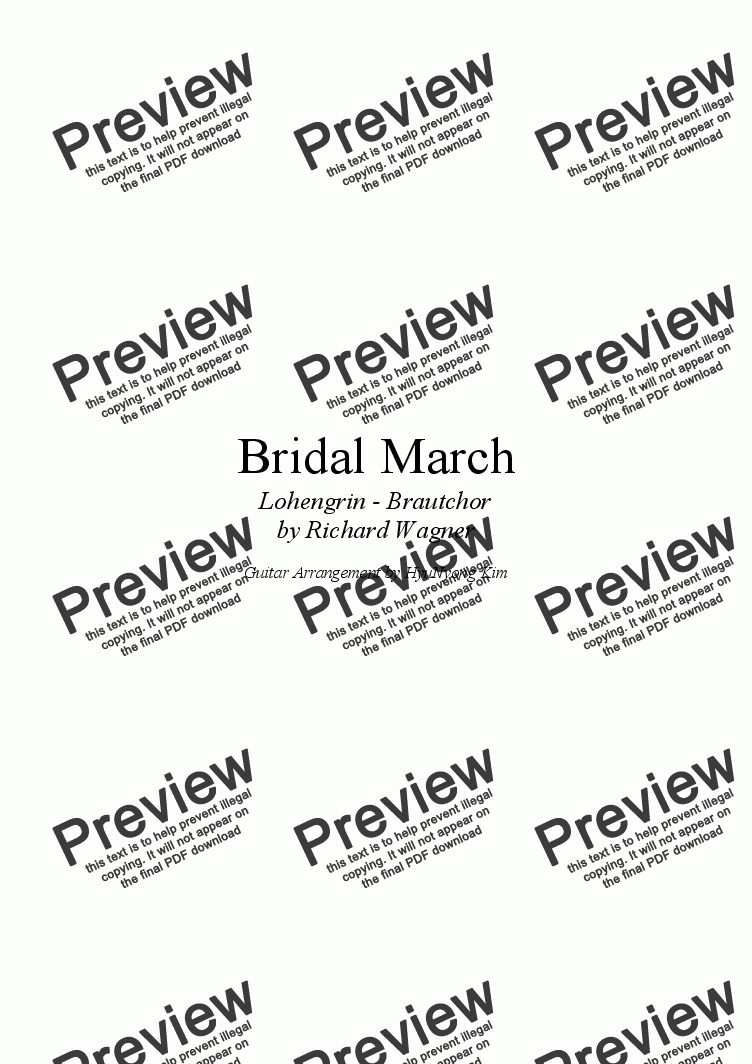 page one of Bridal March for Classical Guitar