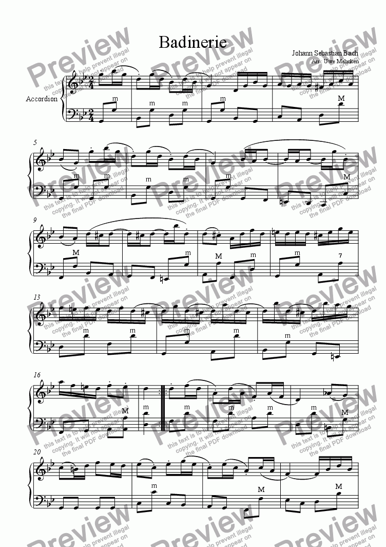 page one of Badinerie (Accordion)