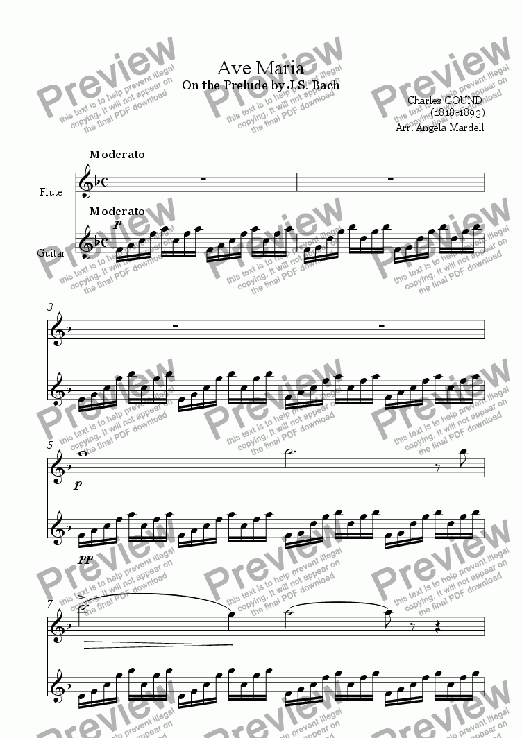 page one of Ave Maria (Bach-Gound)