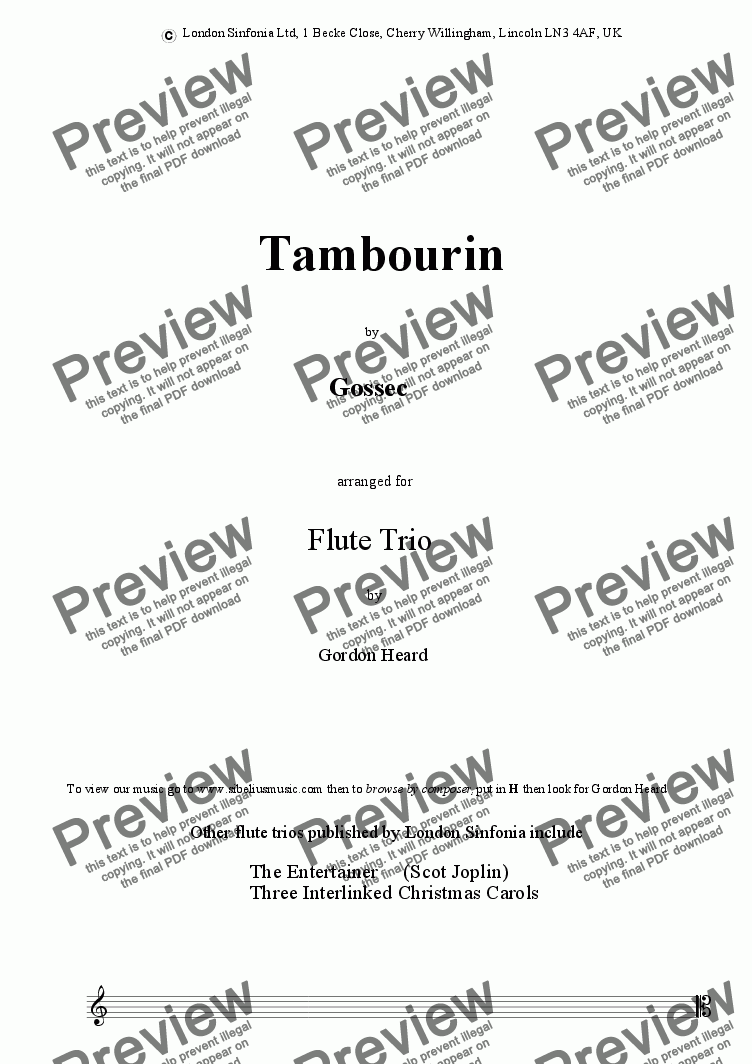 page one of Tambourin (flute trio) by Gossec arr. Gordon Heard