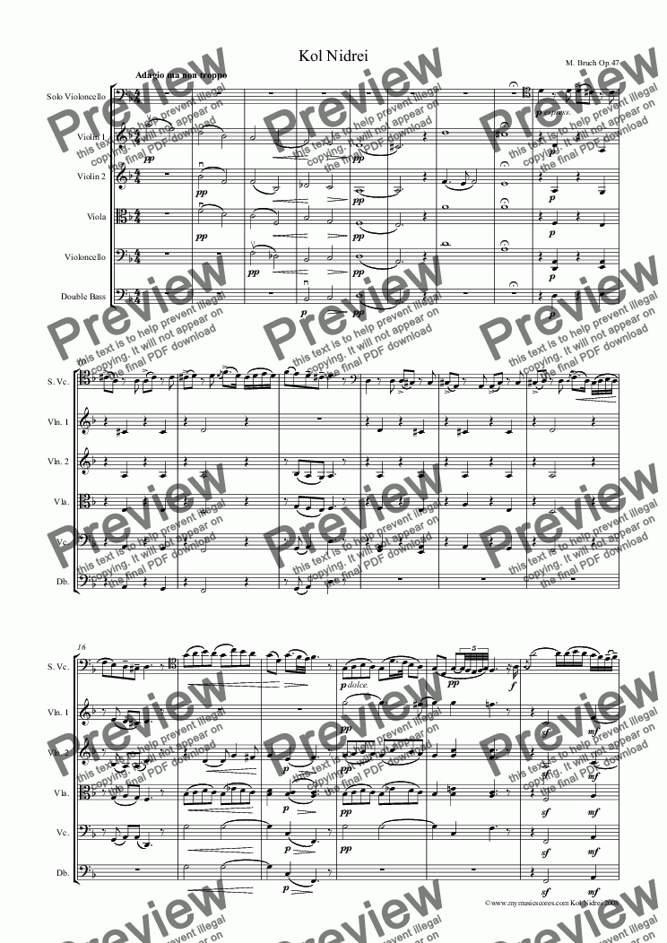 Bruch Kol Nidrei for Cello and String Orchestra - Buy PDF