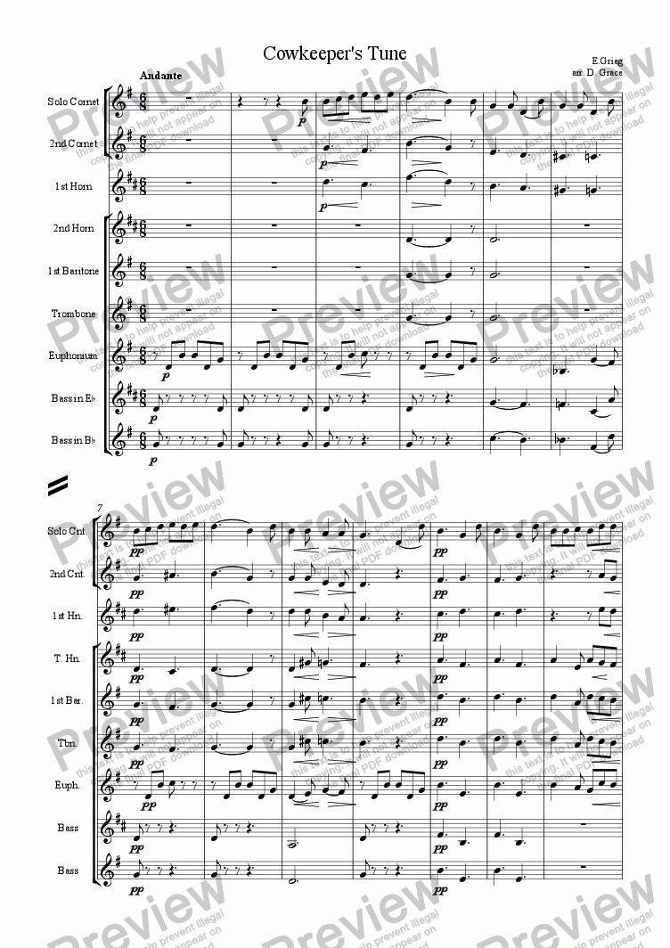 page one of Cowkeeper's Tune [Grieg]