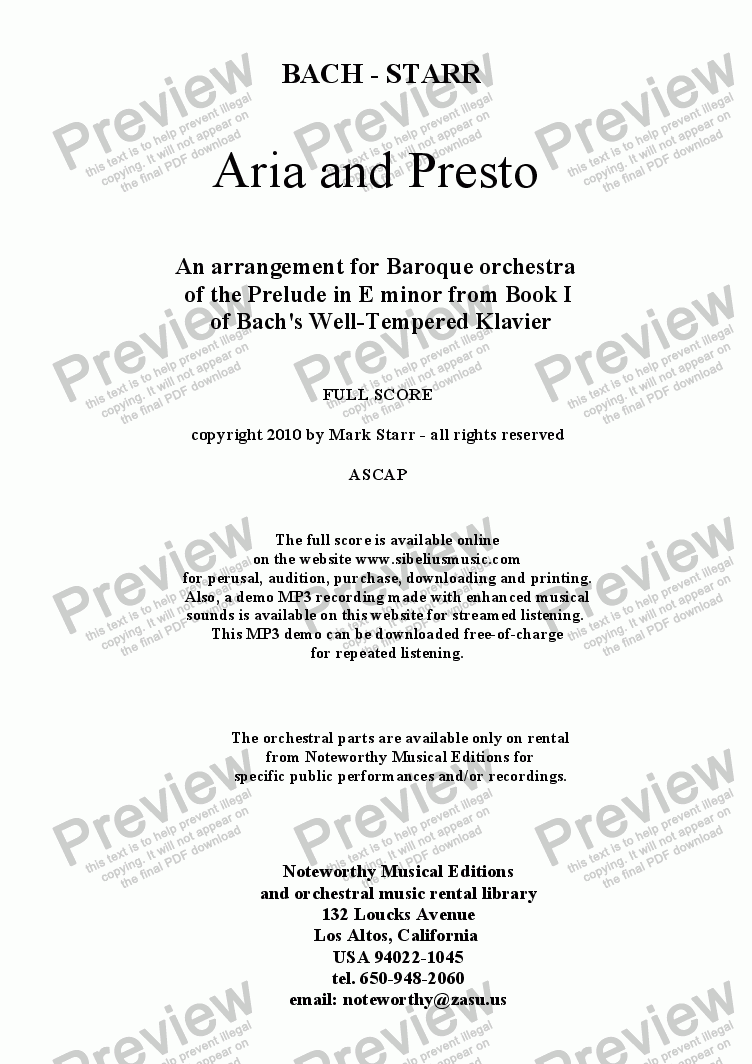 page one of BACH - STARR; Aria and Presto, for Baroque orchestra (an arrangement of the E minor Prelude from Book 1 of the WTC)