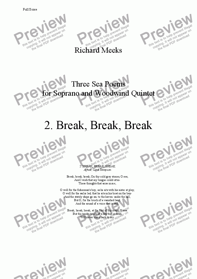 page one of Three Sea Poems for Soprano and Woodwind Quintet 2. Break, Break, Break.ASALTTEXT