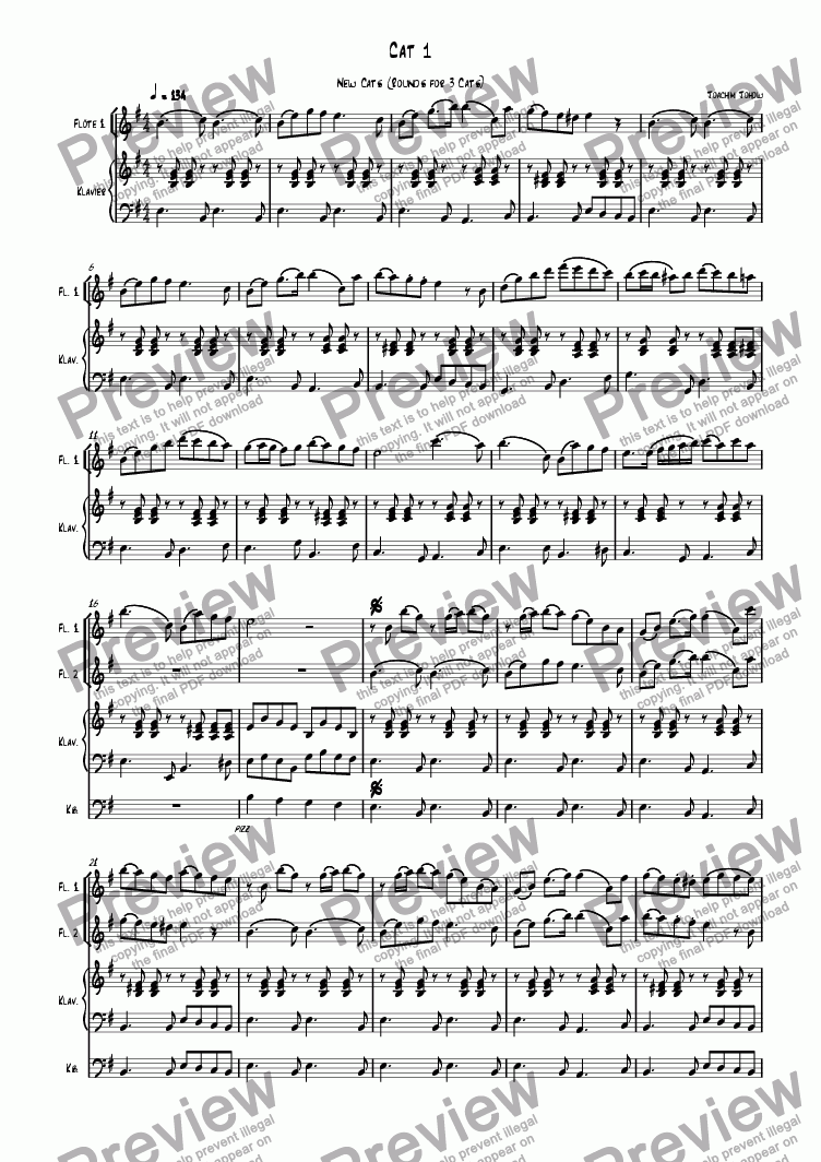 page one of 3 new cats  Cat 01 (canon for 3 flutes, piano and bass)