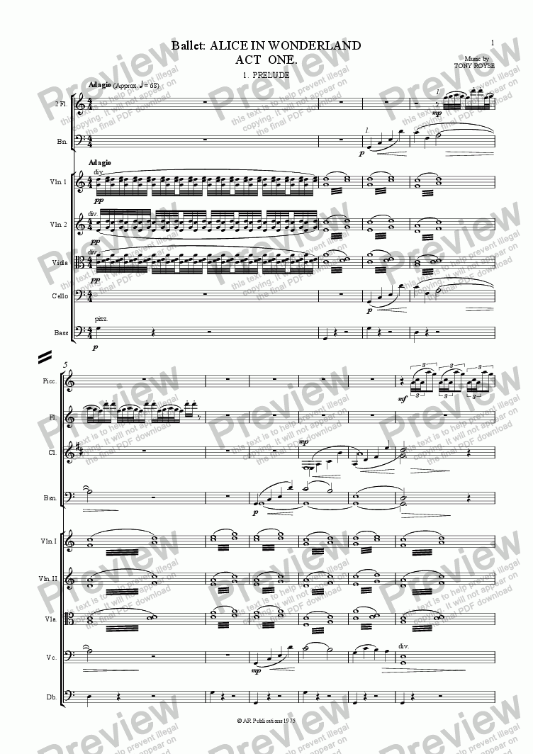 page one of Ballet: Alice In Wonderland  (Act 1 - No. 01, 02 & 03) Prelude, Alice & Rabbit Hole