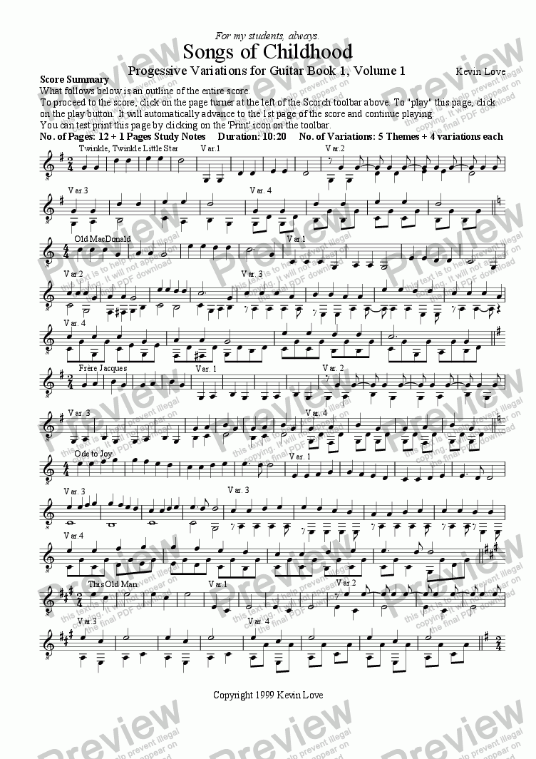 page one of Songs of Childhood - Progressive Variations for Guitar (Book 1, Volume 1)ASALTTEXT