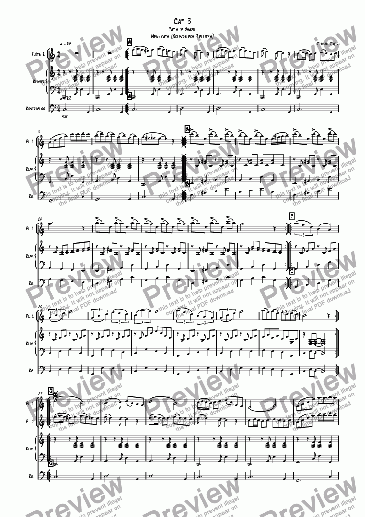 page one of 3 new cats Cat 03 (canon for 3 flutes, piano and bass)