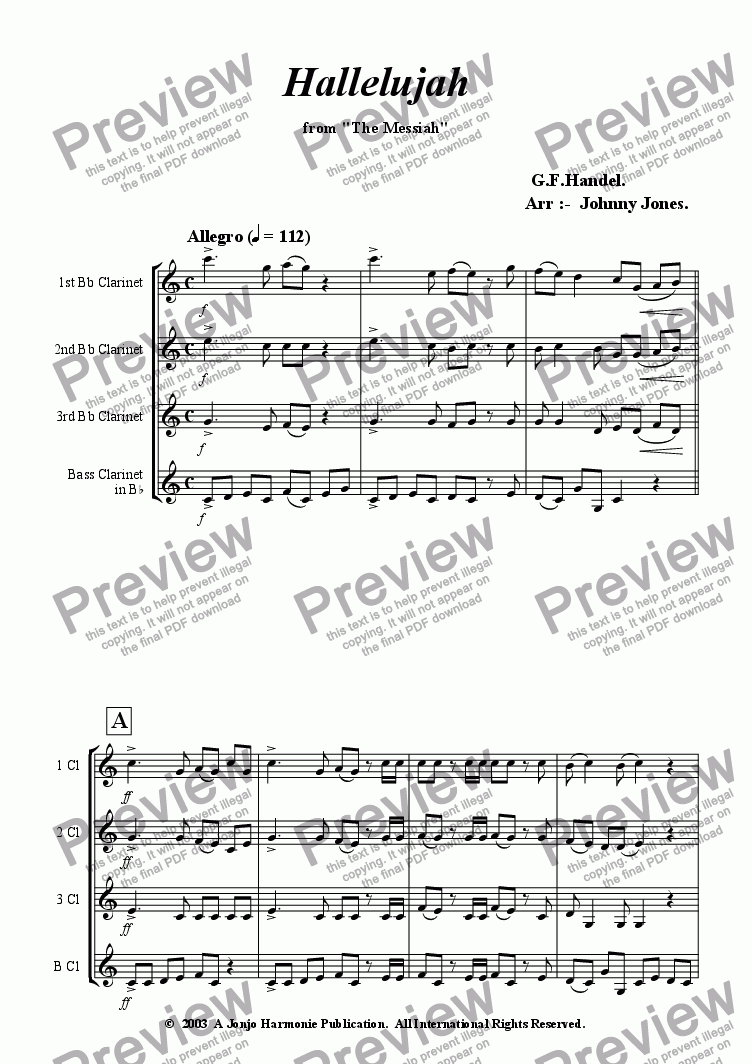 "page one of Hallelujah Chorus from  ""Messiah"""