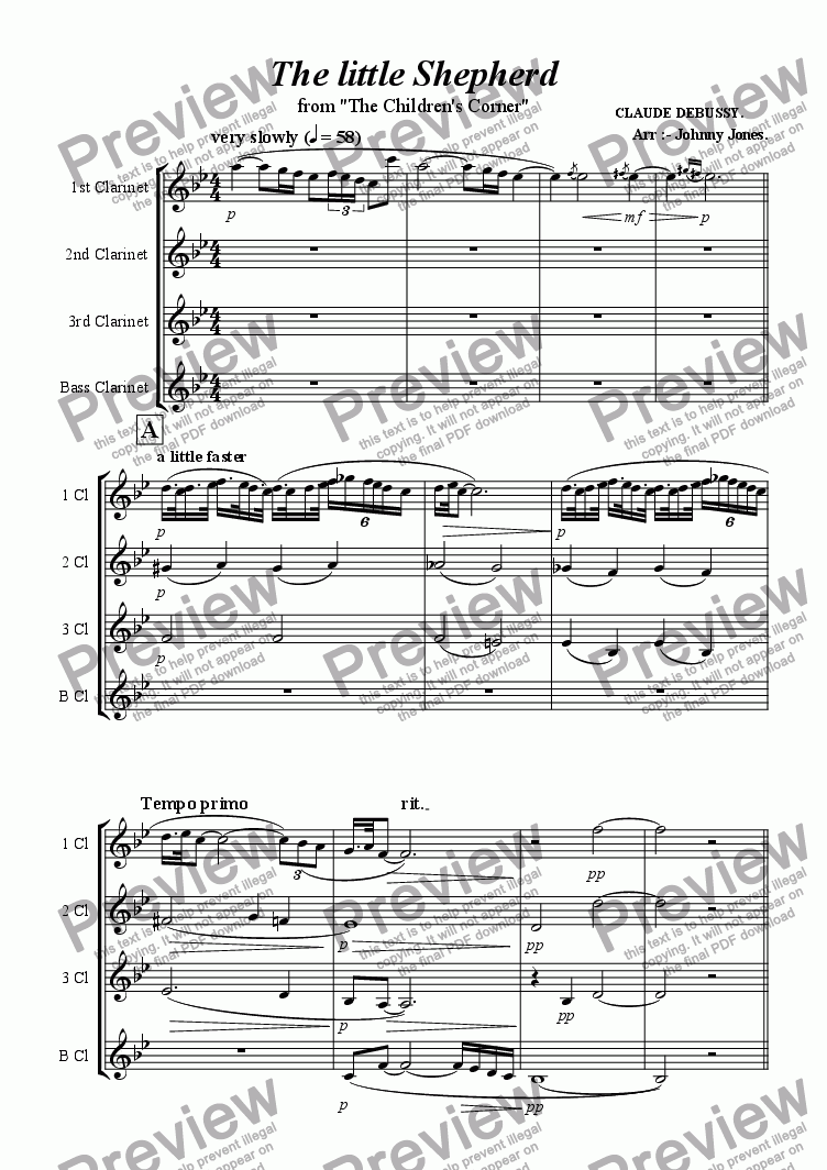 page one of Little Shepherd The   (Clarinet Quartet)