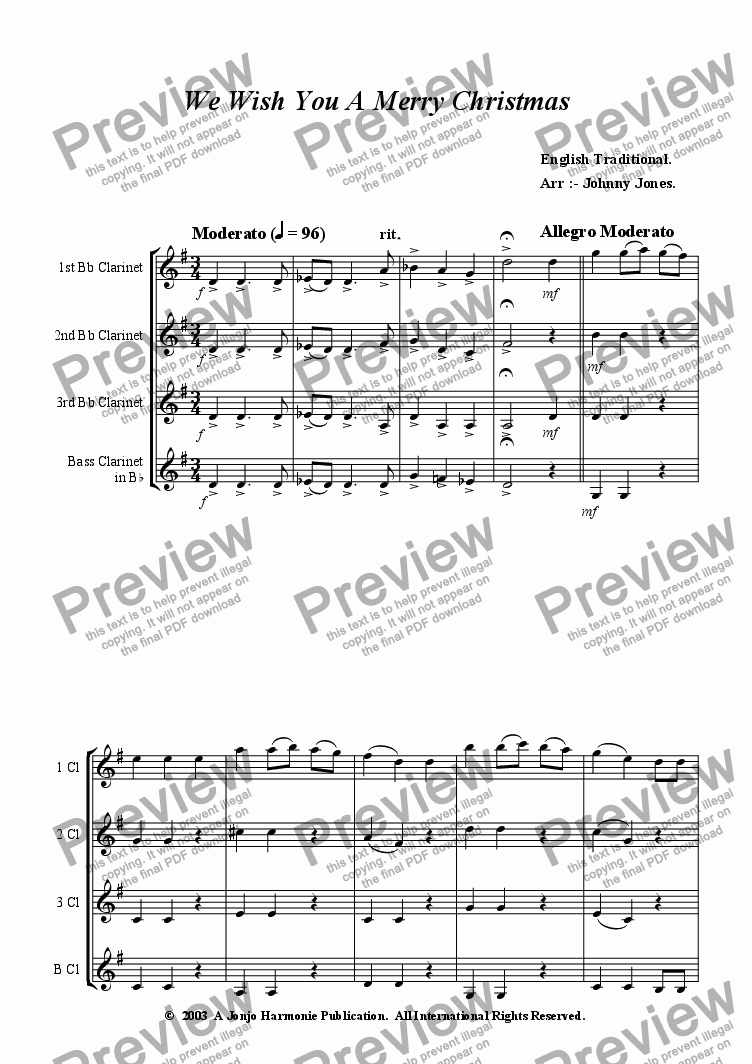 page one of We Wish You A Merry Christmas   (Clarinet Quartet)