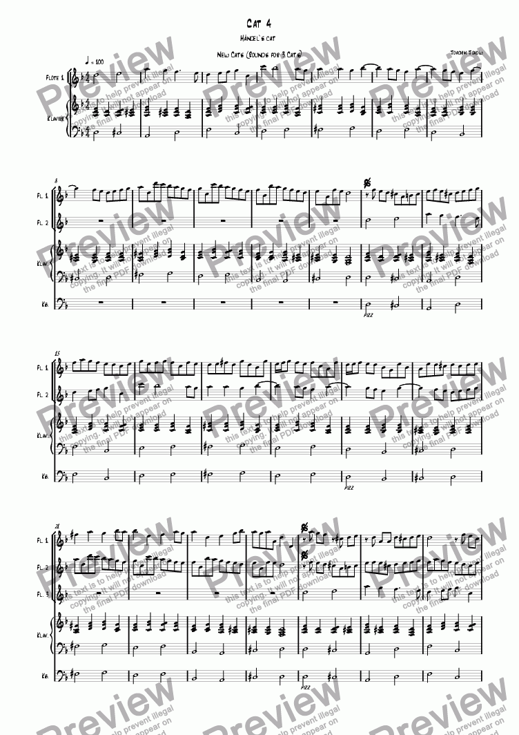 page one of 3 new cats Cat 04 (canon for 3 flutes, piano and bass)