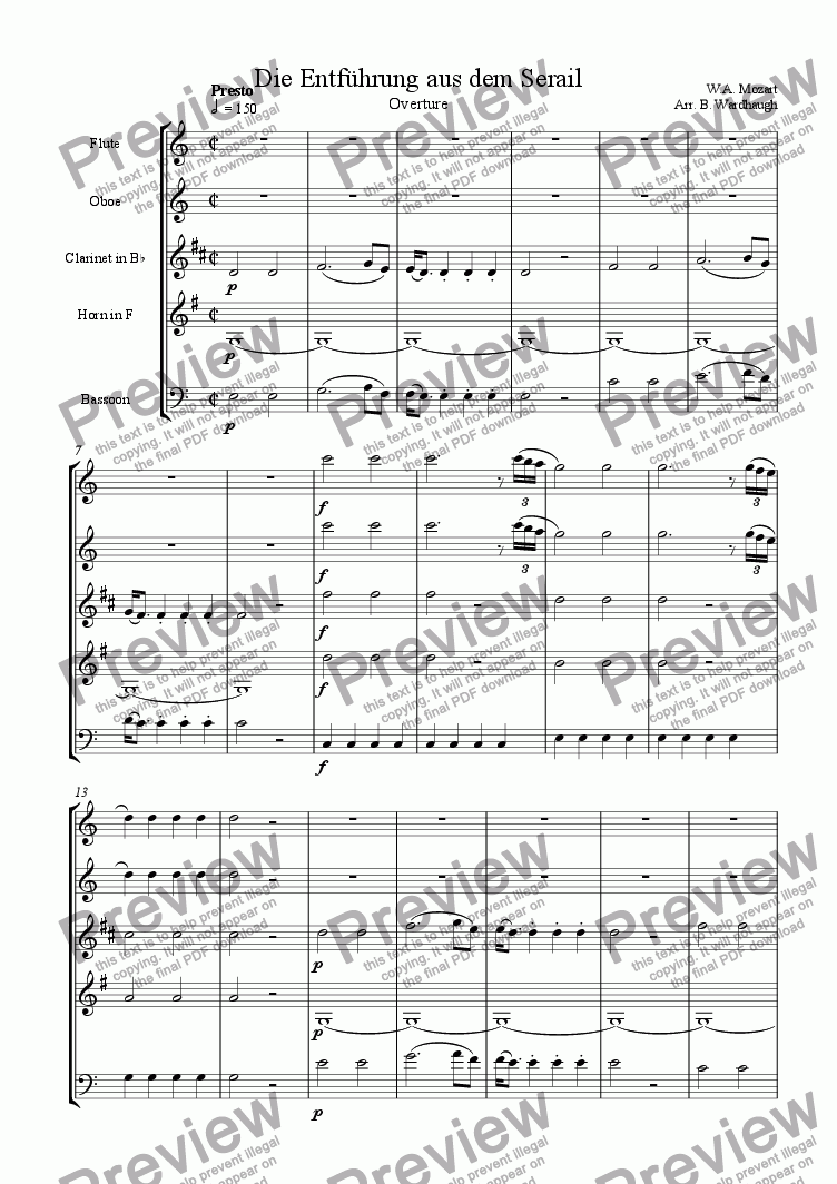 page one of Die Entf�hrung aus dem Serail (The Abduction from the Seraglio): Overture