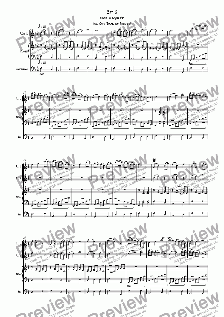 page one of 3 new cats Cat 05 (canon for 3 flutes, piano and bass)