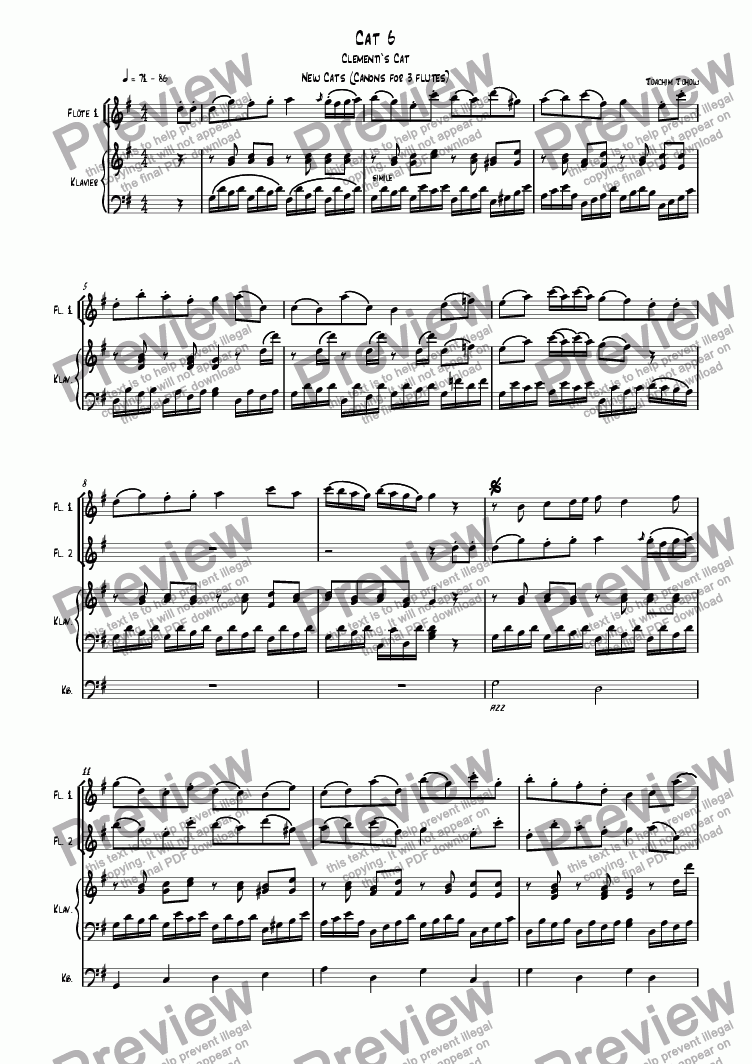 page one of 3 new cats Cat 06 (canon for 3 flutes, piano and bass)