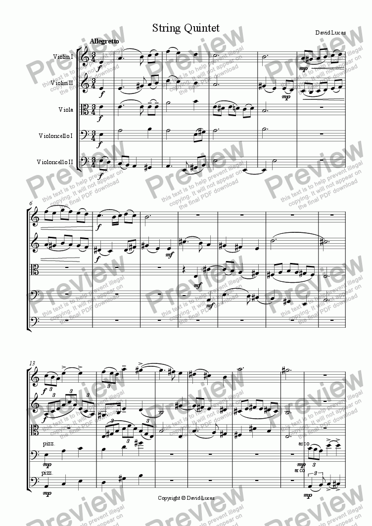 page one of String Quintet