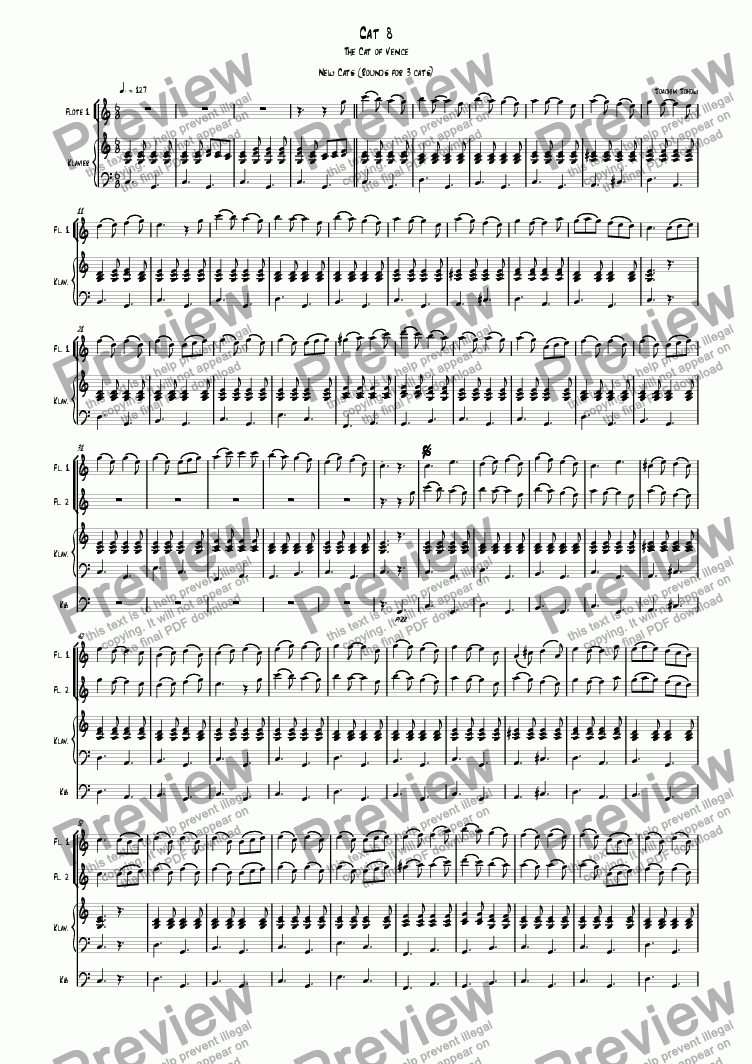 page one of 3 new cats Cat 08 (canon for 3 flutes, piano and bass)