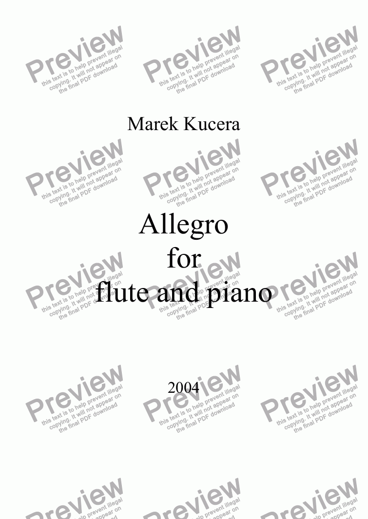 page one of Allegro for flute and piano