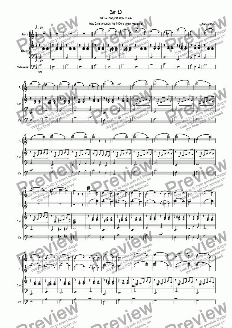 page one of 3 new cats Cat 10 (canon for 3 flutes, piano and bass)