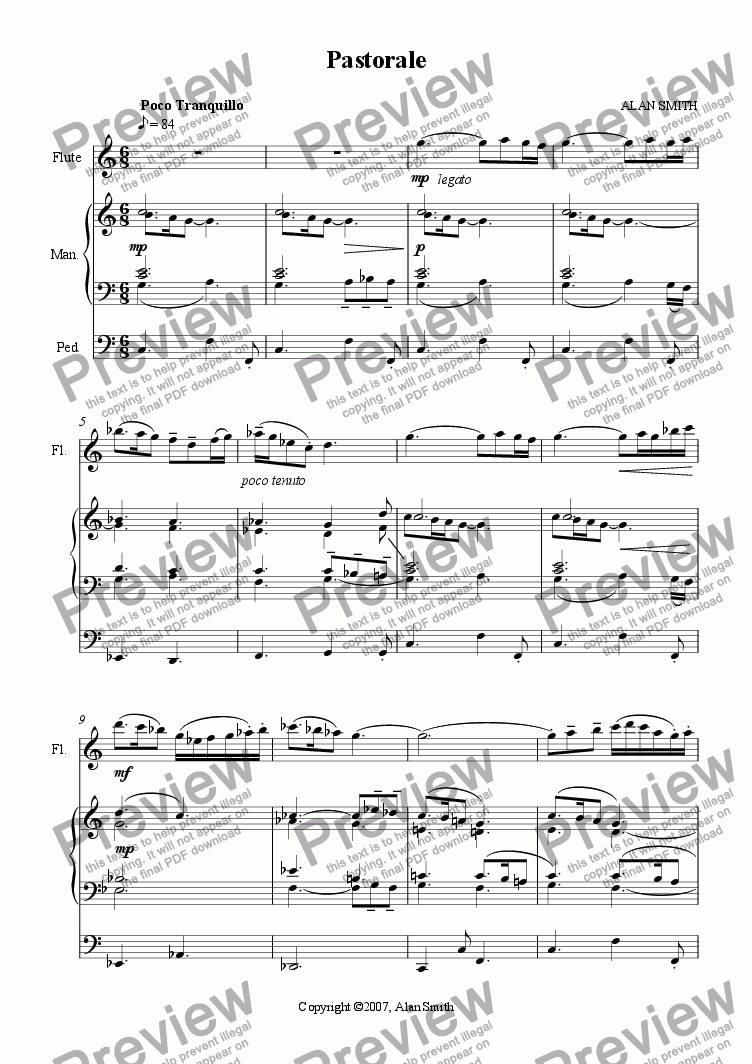page one of Pastorale (Flute and Organ)