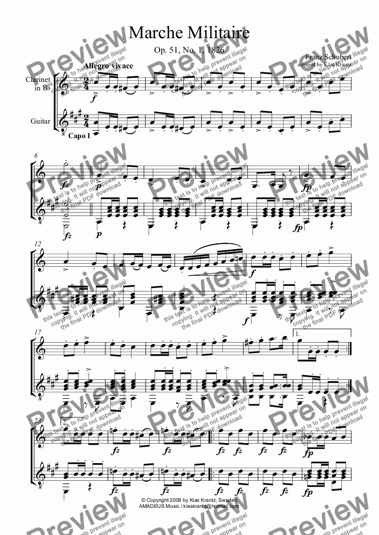 page one of Marche Militaire Op. 51 No. 1 for clarinet in Bb and guitar