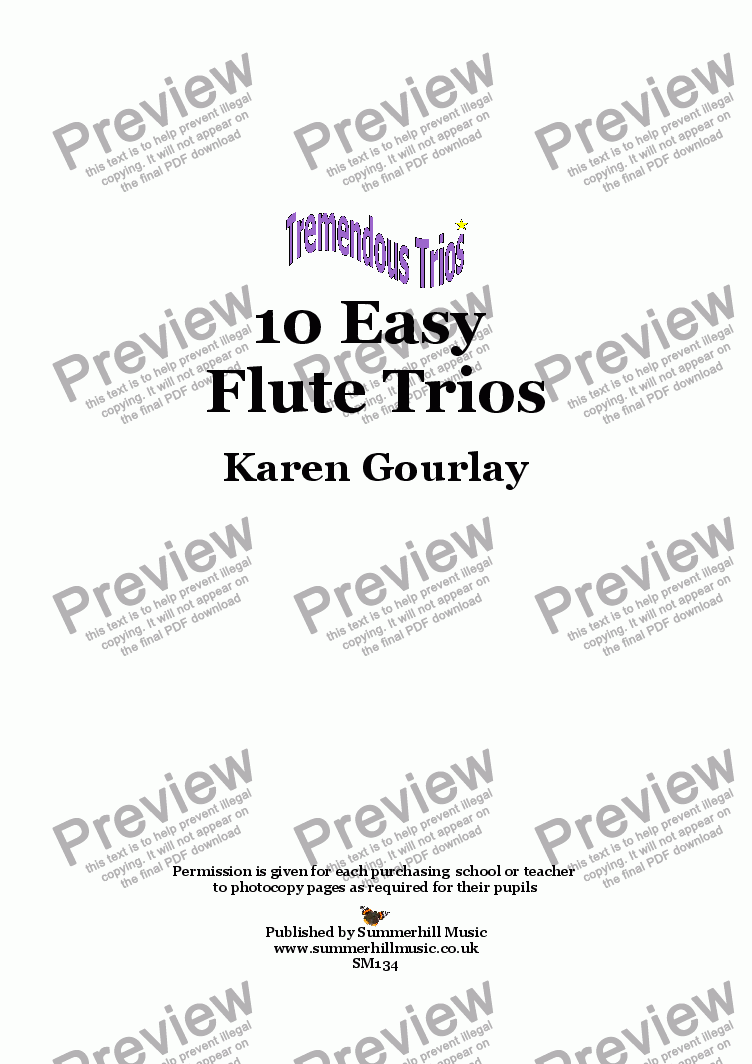 page one of Tremendous Trios: 10 Easy Flute Trios