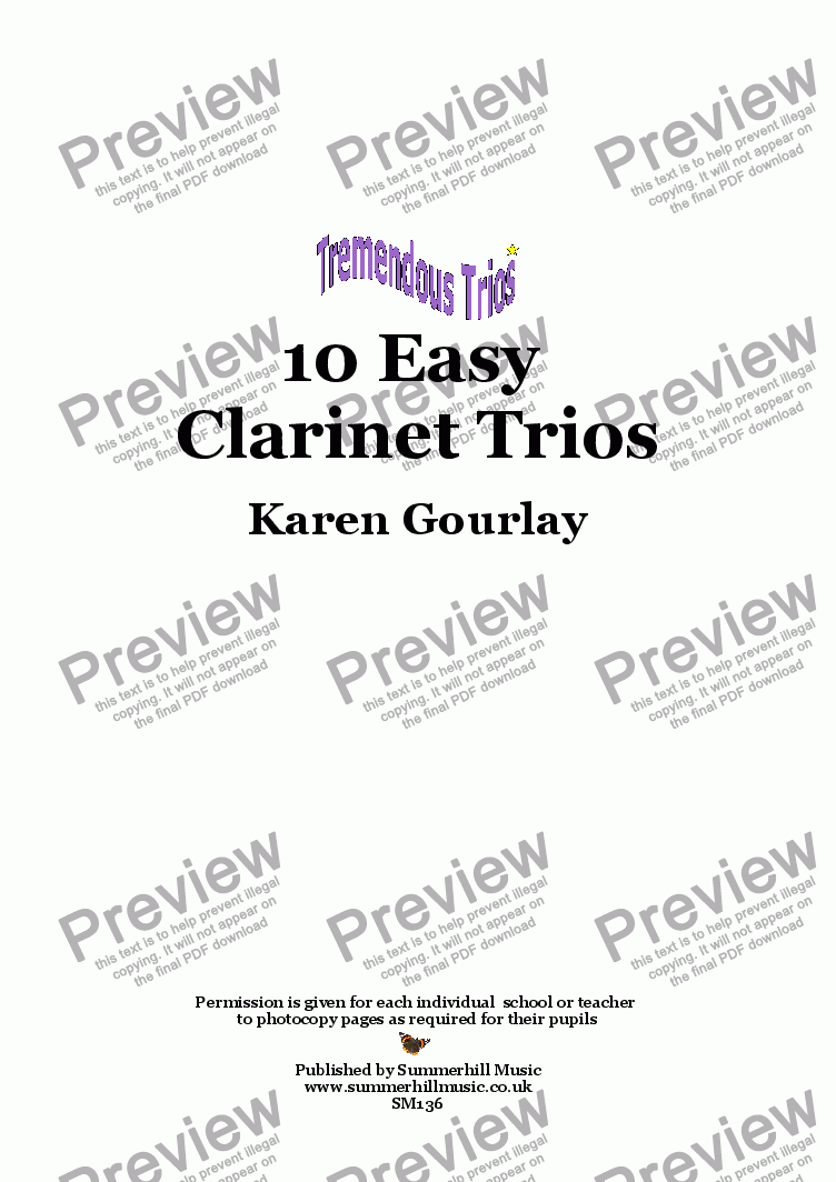 page one of Tremendous Trios: 10 Easy Clarinet Trios