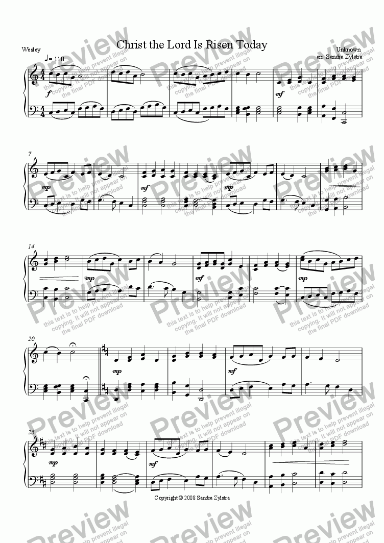 page one of Christ the Lord Is Risen Today (Piano Solo)