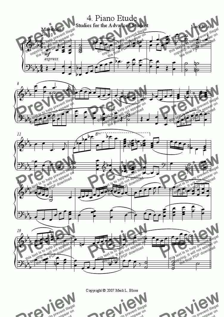 page one of 4. Etude for Solo Piano
