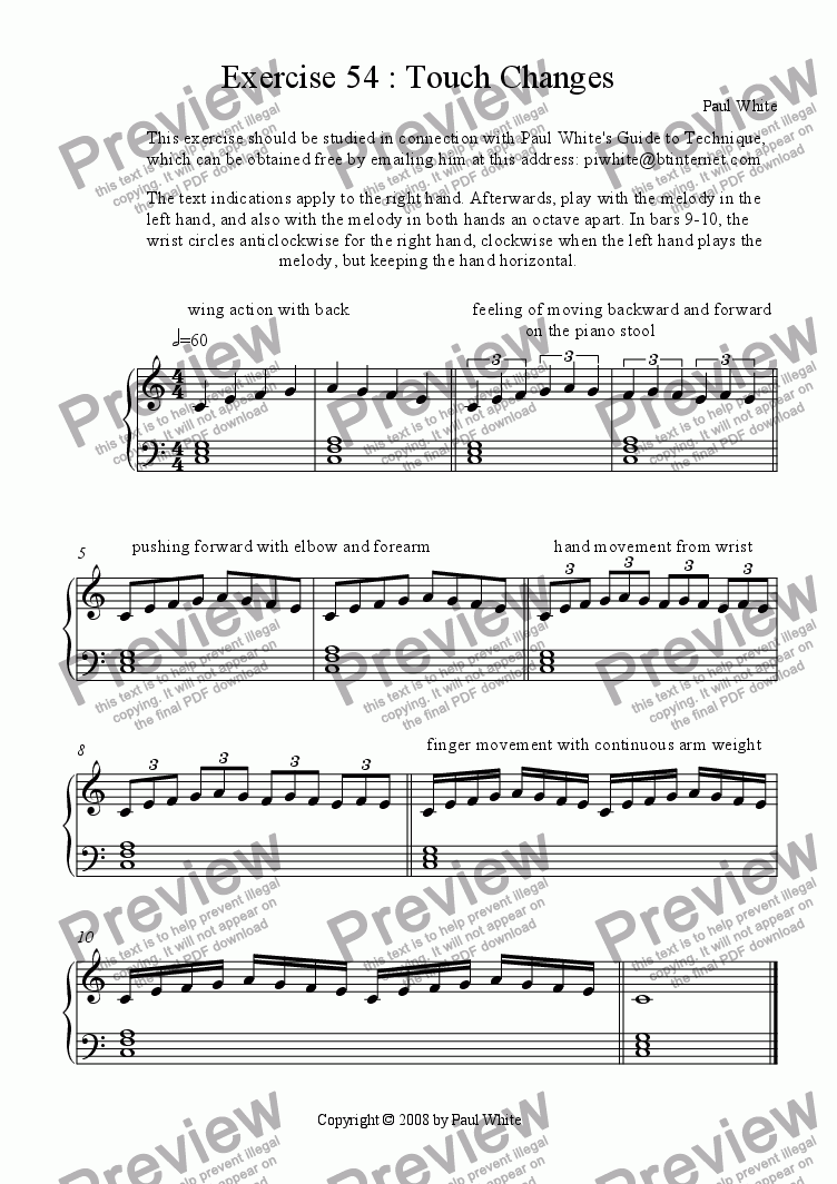 Exercise 54 : Touch Changes for Solo instrument (Piano) by Paul White -  Sheet Music PDF file to download