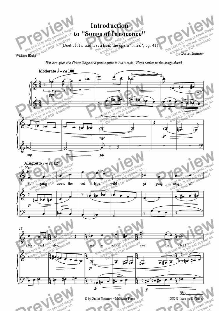 page one of INTRODUCTION to Songs of Innocence (from opera Tiriel)