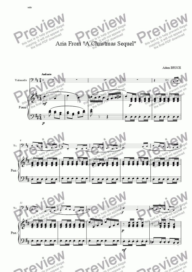 page one of Christmas Sequel 'Cello Solo