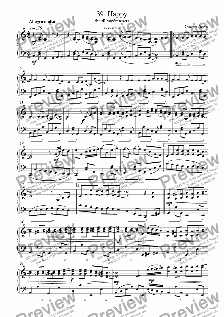 page one of Piano Book 039 (Happy)